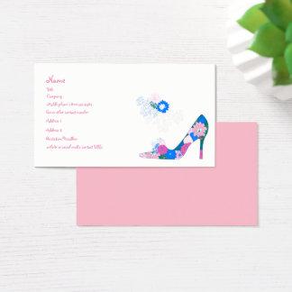 Cartes De Visite Chaussure rose et bleue de fleur