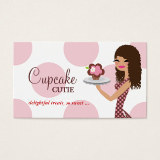 Cartes De Visite Cheveux bouclés roses de Cutie de petit gâteau de