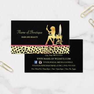 Cartes De Visite Cheveux d'impression de guépard d'or et boutique