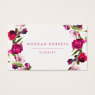 Cartes De Visite Cheveux floraux de fleuriste de beauté de rose