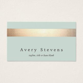Cartes De Visite Chic bleu-clair élégant rayé de feuille d'or de