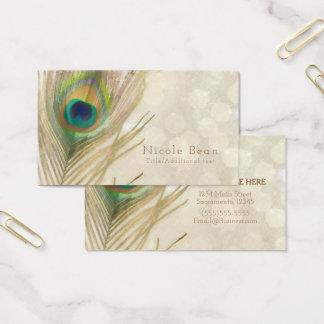 Cartes De Visite Chic élégant fascinant de plume exotique de paon