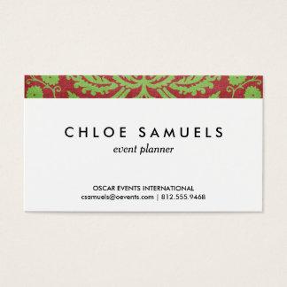 Cartes De Visite Chic minable de damassé rouge-rose et verte