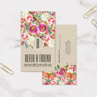 Cartes De Visite Chic minable de monogramme rustique floral élégant