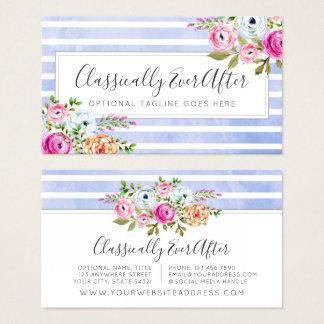 Cartes De Visite Chic minable de rayure moderne florale rustique