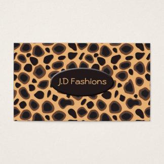 cartes de visite chics d'empreinte de léopard