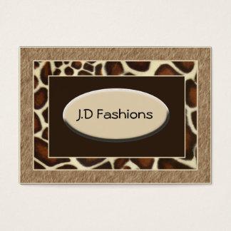 cartes de visite chics d'empreinte de léopard brun