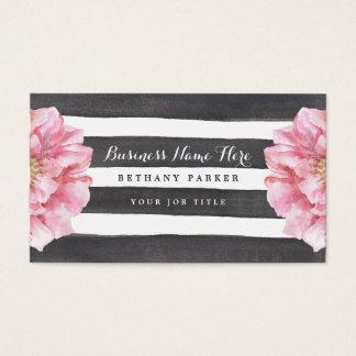 Cartes de visite chics floraux d'aquarelle
