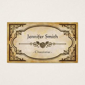 Cartes De Visite Chocolatier - antiquité vintage élégante