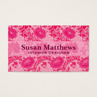 Cartes De Visite Chrysanthèmes de William Morris, rose de fuchsia