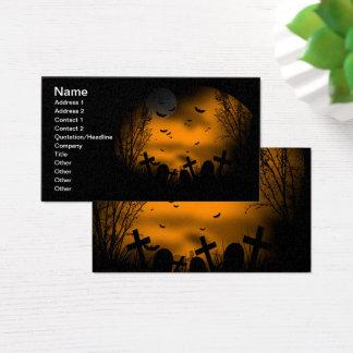 Cartes De Visite Cimetière de Halloween avec des battes et des