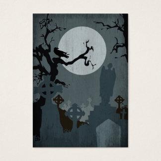 Cartes De Visite Cimetière et pleine lune pour Halloween