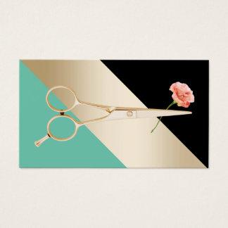 Cartes De Visite Ciseaux du coiffeur |Gold et rayures modernes de