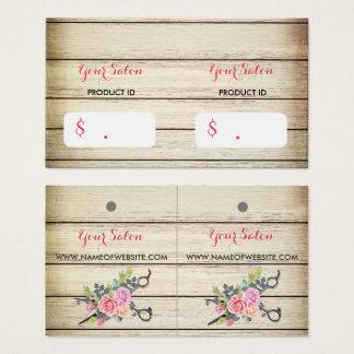 Cartes De Visite Ciseaux et étiquettes en bois avec du charme de