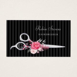 Cartes De Visite Ciseaux floraux roses chics d'argent de Faux de