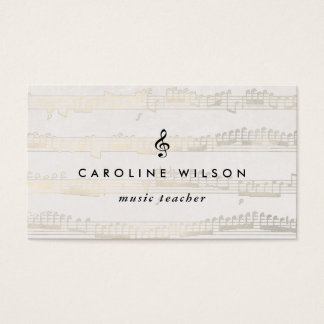Cartes De Visite clef triple de noir de professeur de musique sur