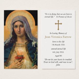 Cartes De Visite Coeur impeccable Mary de prière d'antiquité
