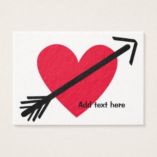 Cartes De Visite Coeur rouge personnalisé avec la Saint-Valentin de