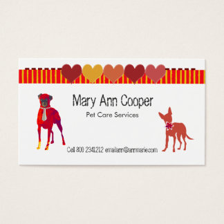 Cartes De Visite Coeurs mignons de rayures de chiens d'animaux