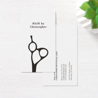 Cartes De Visite Coiffeur blanc noir élégant minimaliste