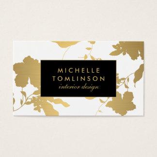 Cartes De Visite Concepteur floral de blanc de motif d'or élégant