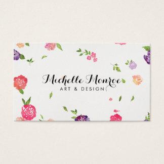 Cartes De Visite Concepteur floral de métier d'aquarelle vintage I