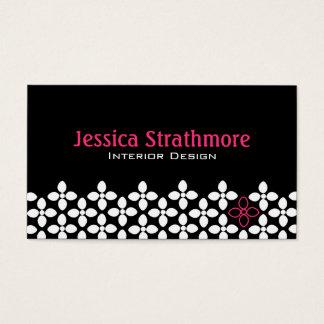 Cartes De Visite Concepteur noir et rose moderne de fleur