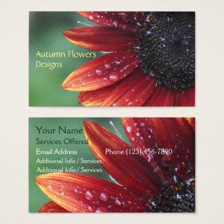 Cartes De Visite Conception florale de paysage de pétales rouges de