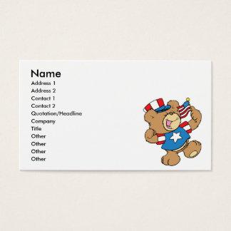 Cartes De Visite conception patriotique mignonne d'ours de nounours