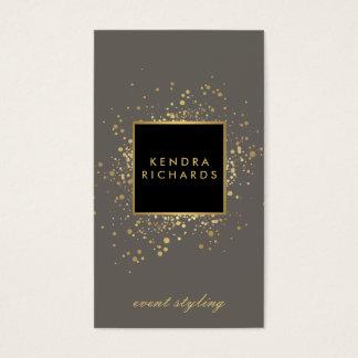 Cartes De Visite Confettis dispersés d'or de Faux sur le gris