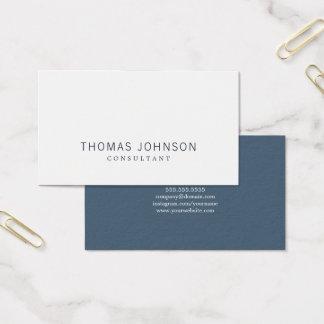 Cartes De Visite Conseiller blanc bleu élégant minimaliste