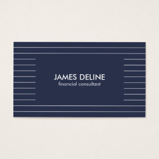 Cartes De Visite Conseiller financier bleu rayé simple