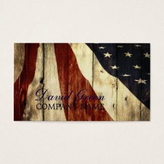 Cartes De Visite construction grunge en bois de drapeau américain