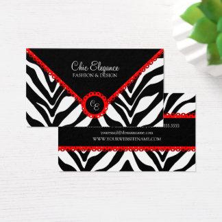 Cartes De Visite Copie élégante de zèbre et dentelle rouge