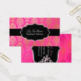 Cartes De Visite Couleur victorienne rose de PixDezines Damask/DIY