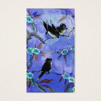 Cartes De Visite Couleurs de matin : Peinture d'oiseau en bleu et