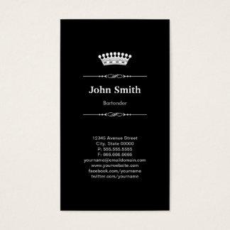 Cartes De Visite Couronne royale élégante simple de barman