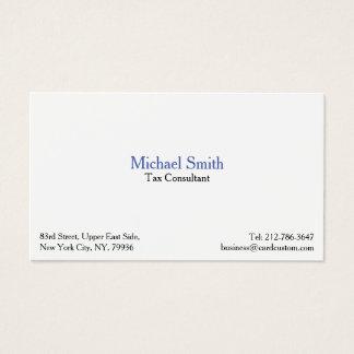 Cartes De Visite Coutume blanche simple moderne élégante