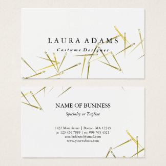 Cartes De Visite Couturier élégant d'or du blanc | d'aiguilles