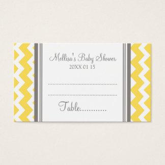 Cartes De Visite Couvert jaune de Tableau de baby shower de Chevron