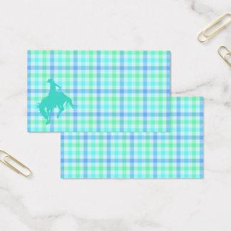 Cartes De Visite Cowboy de turquoise de plaid