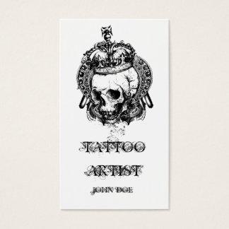 Cartes De Visite Crâne avec l'artiste de tatouage de couronne