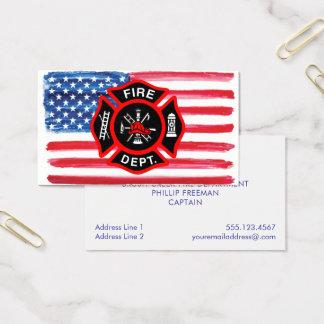Cartes De Visite Croix maltaise de drapeau américain d'aquarelle de