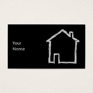 Cartes De Visite Croquis de Chambre. Gris et noir