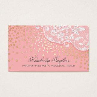 Cartes De Visite Cru de rose de confettis de dentelle et d'or