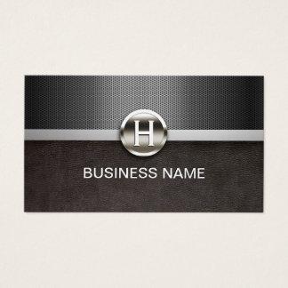 Cartes De Visite Cuir de monogramme et professionnel modernes en
