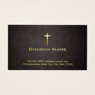 Cartes De Visite Cuir foncé élégant de croix d'or d'église