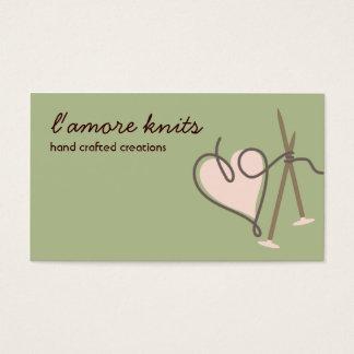 Cartes de visite d'aiguilles de tricot d'amour de
