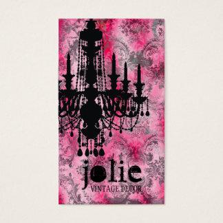 Cartes De Visite Damassé de gris de rose de lustre de la