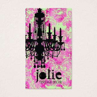 Cartes De Visite Damassé de rose de chaux de lustre de Jolie de